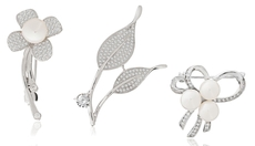 Freshwater pearl and cubic zirconia brooches