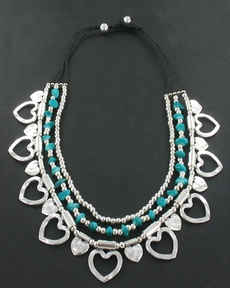 Silver heart necklace with turquoise stones