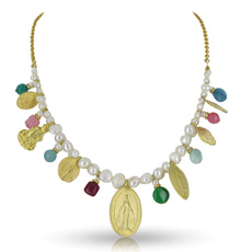 Pearl and gold vermeil necklace