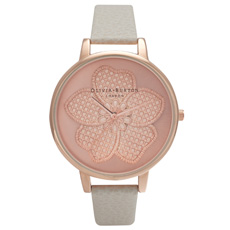 Enchanted Garden 3D Flower mink and rose gold watch