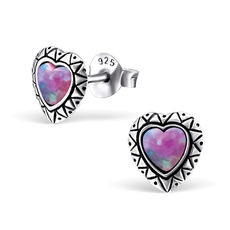 Mainly Silver heart ear studs