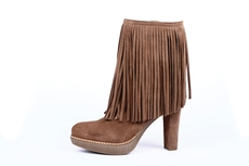 Brown fringed boots