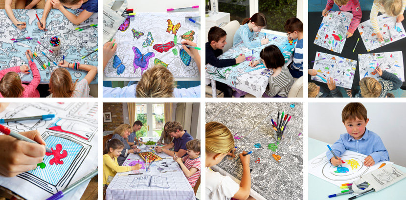 Colour-in placemats and tablecloths