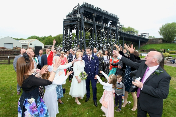 Happy couple first to be married at Cheshire's Anderton Boat Lift