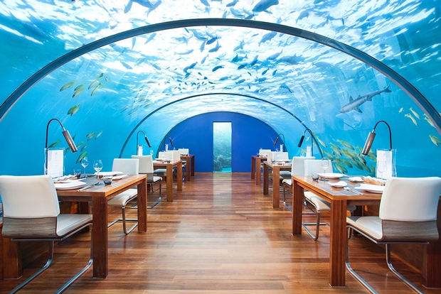 Dine underwater at Conrad Maldives