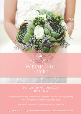 Wedding Fayre set to take place at the Lanhydrock Hotel and Golf Club in Bodmin, Cornwall, on Sunday 7th October, 2018