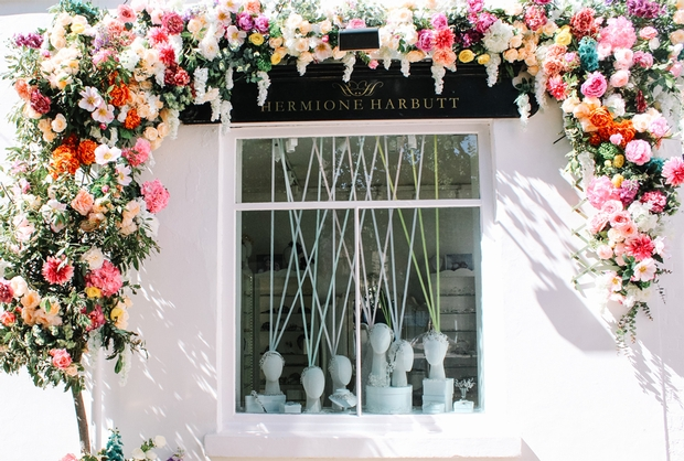 Luxury accessory designer Hermione Harbutt celebrates four years in the bridal business with stunning floral spectacle