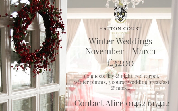 Hatton Court Hotel, Wedding & Meetings Venue in the Cotswolds offer Winter Weddings package for £3200.
