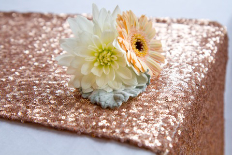 Glitzy new sequinned wedding table linen