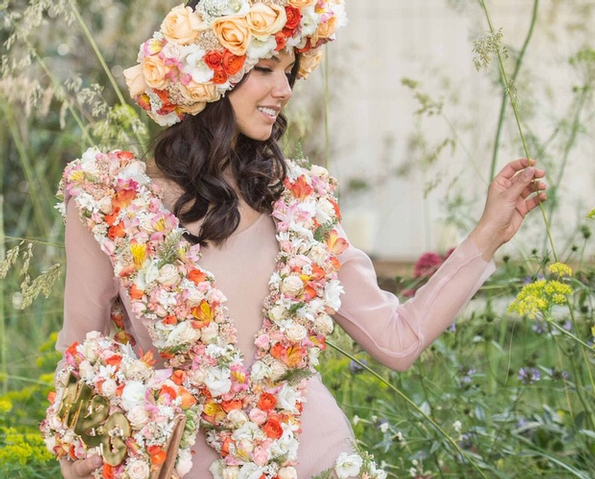 Fabulous floral dress created for Chelsea Flower Show