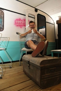 TV recycling star Max McMurdo turns caravan man at the Festival of Thrift