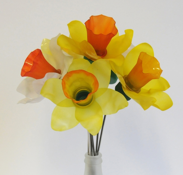 Everlasting plastic bottle daffodils for Mother's Day