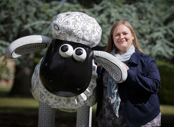 Royal School of Needlework student creates a winning Shaun the Sheep design currently on display at Hampton Court Palace