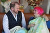 Zandra Rhodes, Stuart Hillard and Star of Hope Quilt for Breast Cancer Charity