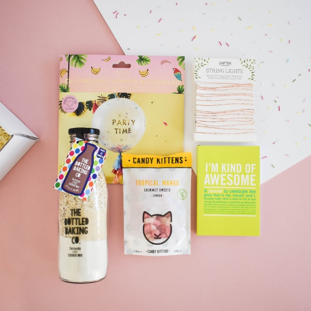 BOXD curated gift box including lights, baking kit and sweets