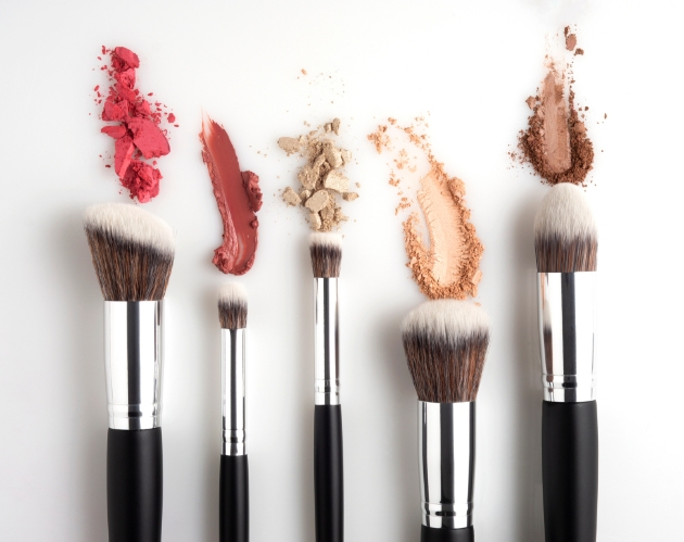 A selection of make-up brushes