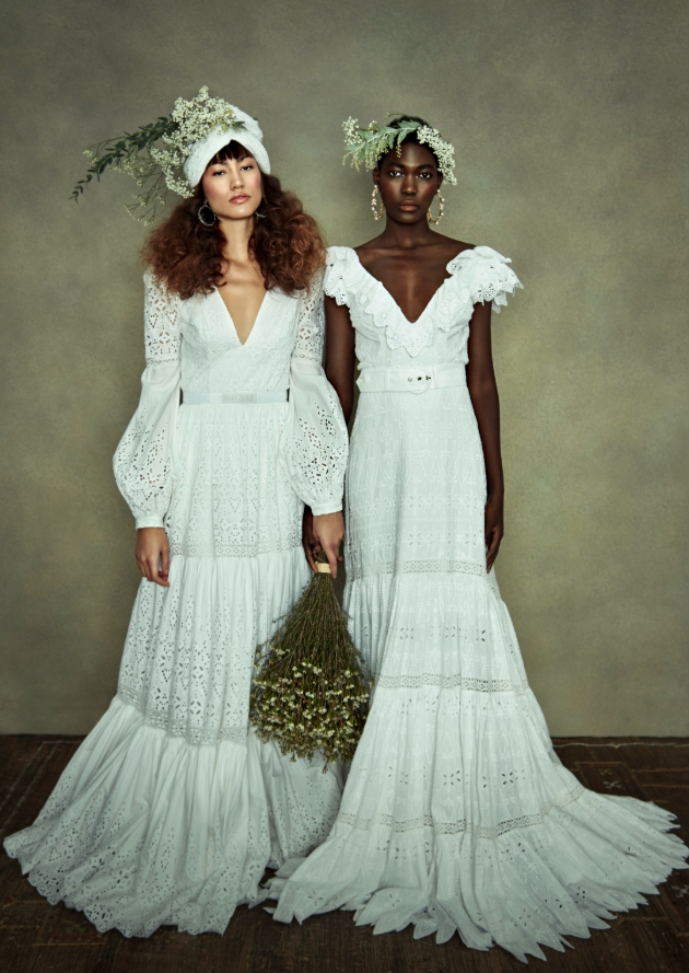 Two models in wedding dressing with organic details