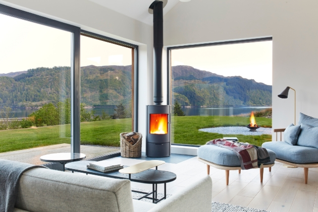 Scottish house, with large panoramic windows looking out on to highlands and lake