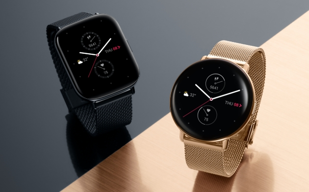 black leather watch with smart face