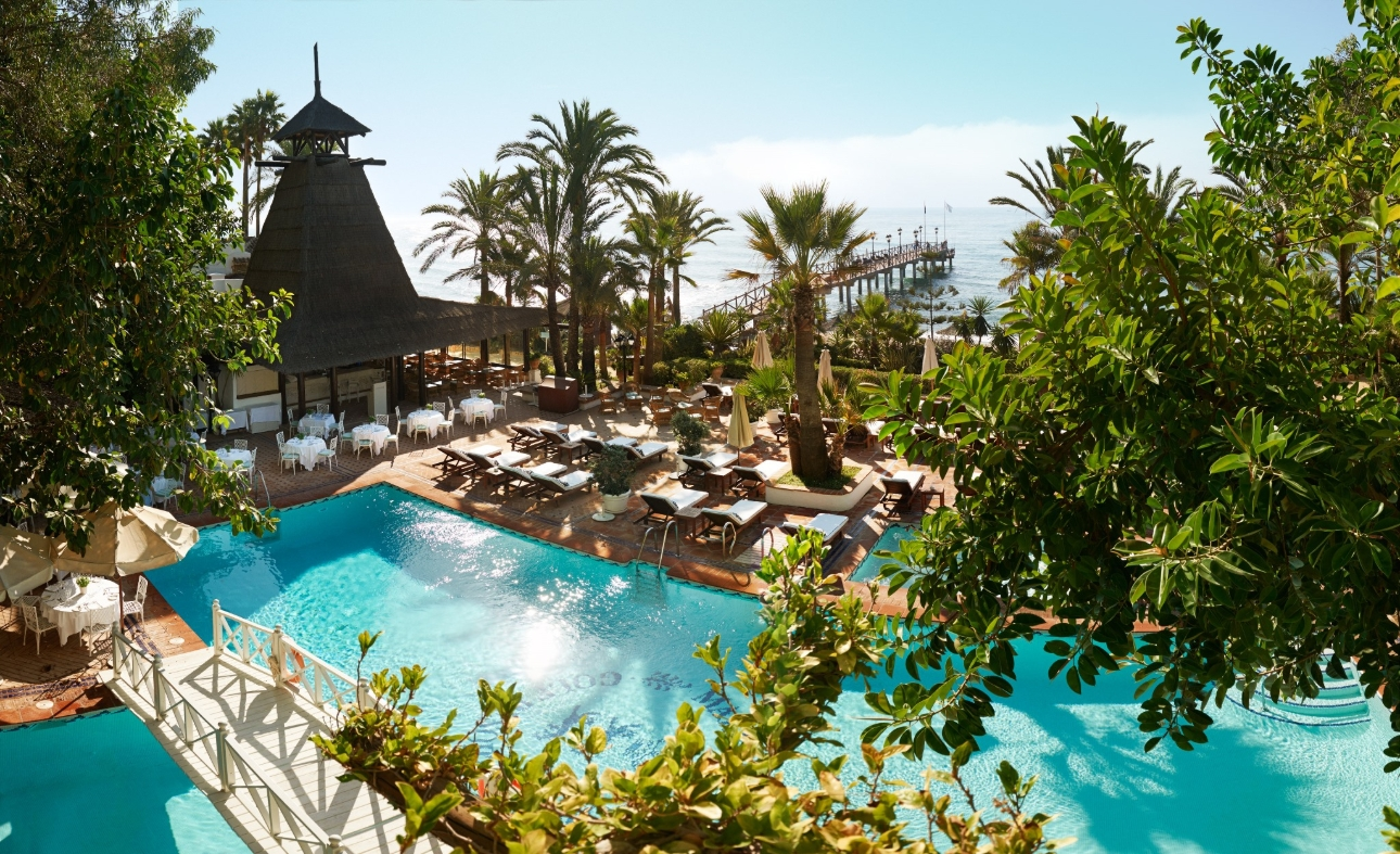 Marbella Club pool side view looking out to see with lots of palms and loungers