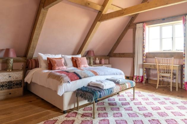 bedroom in barn pink rustic