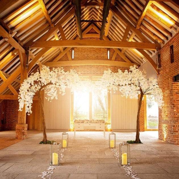 inside of barn with blossom trees