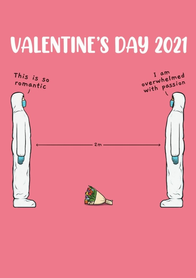 valentines card couple socially distanced