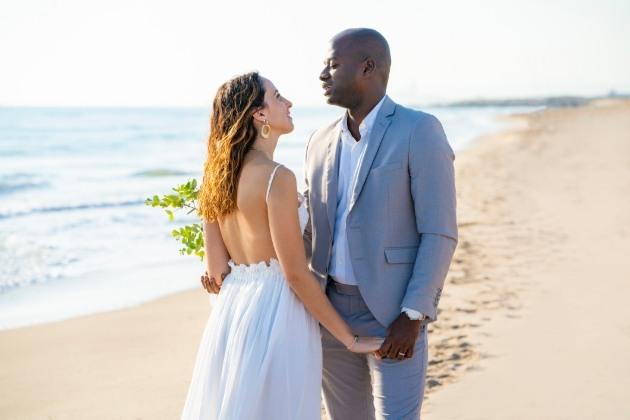 couple wedded on beach