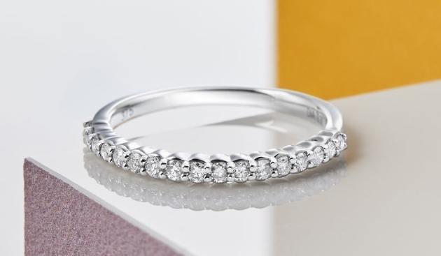 white gold diamond half eternity ring