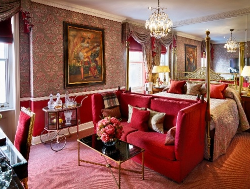 traditional suite with red furnishings