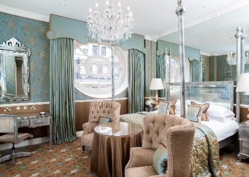 luxury suite duck egg blue colour with chandelier