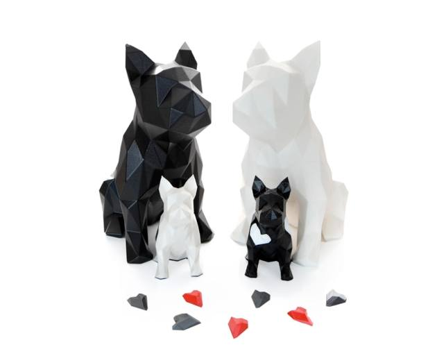 french bulldog black and white sculpture set