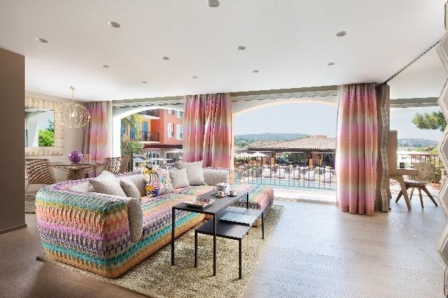 pastel colour retro interior views to pool area