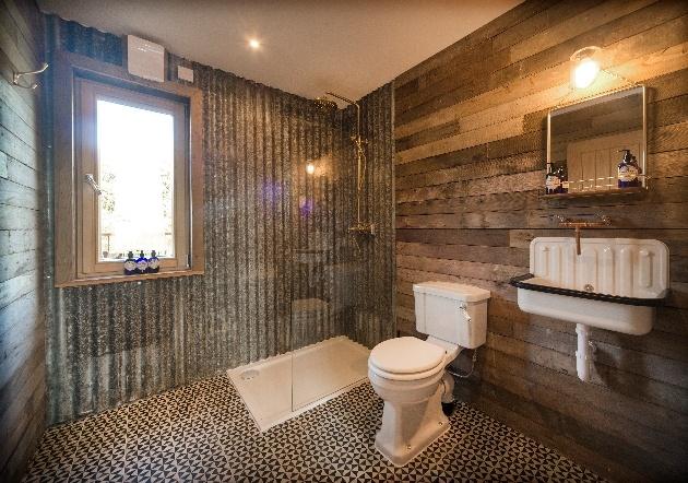 industrial bathroom in tree house