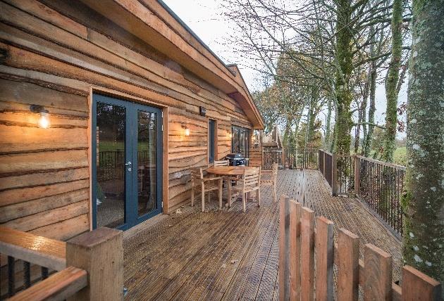New treehouses at Lanrick, Perthshire, Scotland veranda