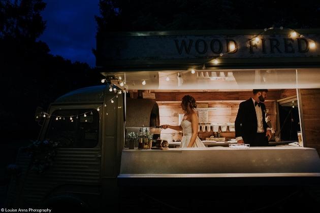 wedding pizza truck couple making pizza