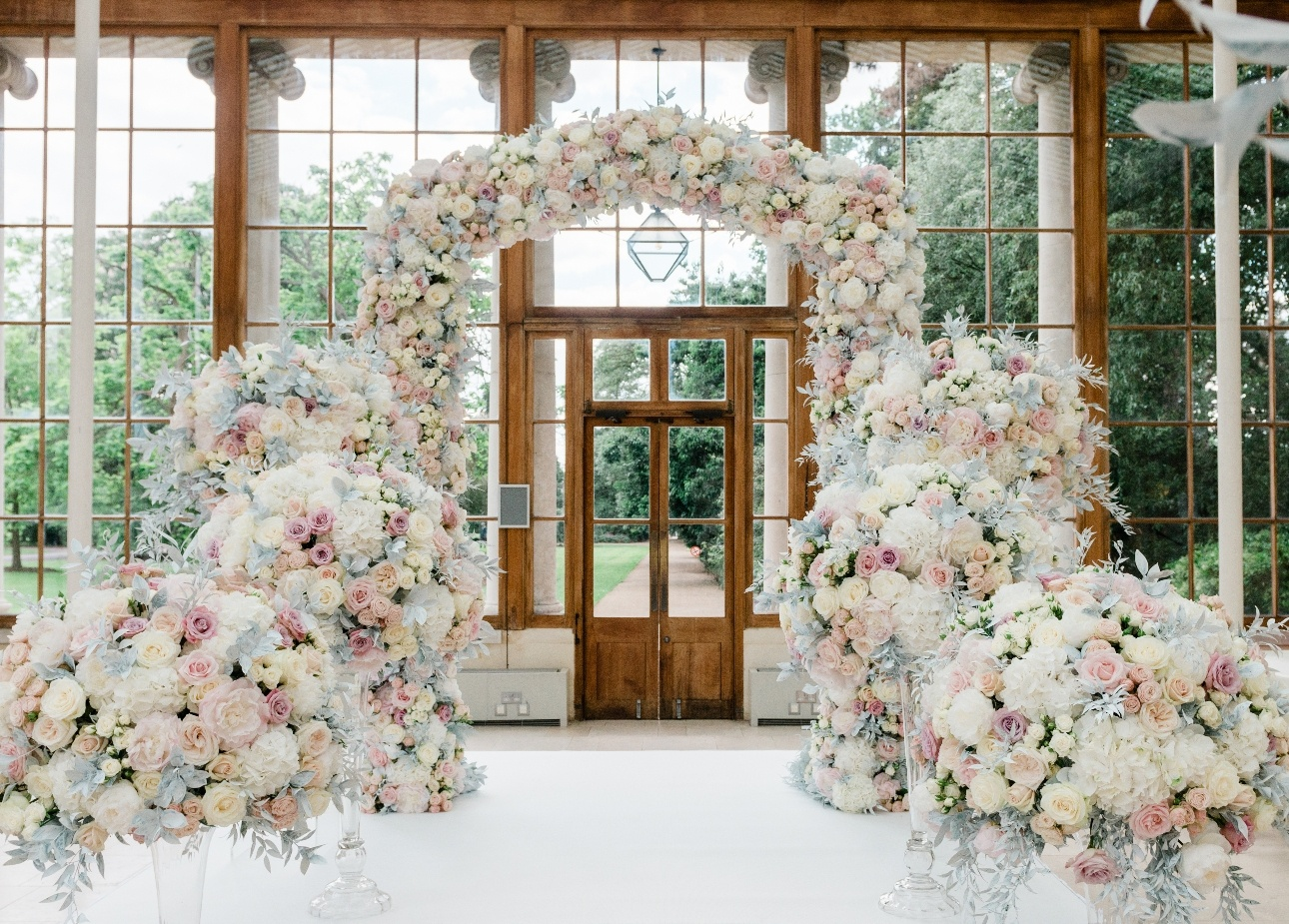 floral arch in conservatory