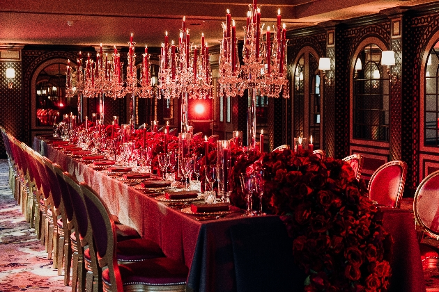 avant garde luxurious red roses on reception table