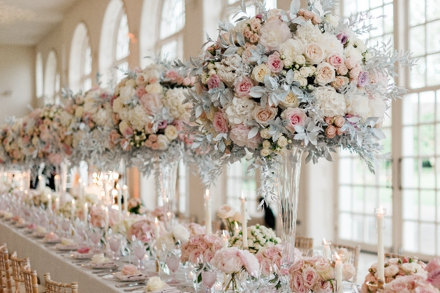 large pastel displays on reception tables