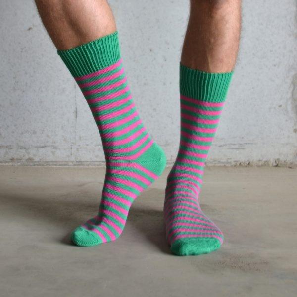 stripey socks on man legs