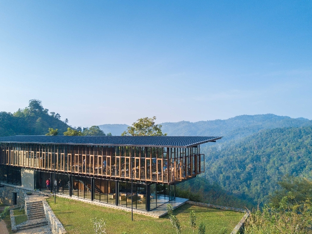 eco lodge high on stilts in mountains