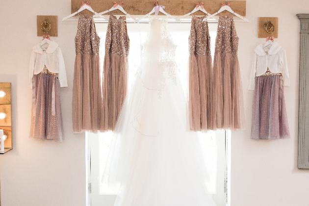 Bride's dress and bridesmaid's dresses
