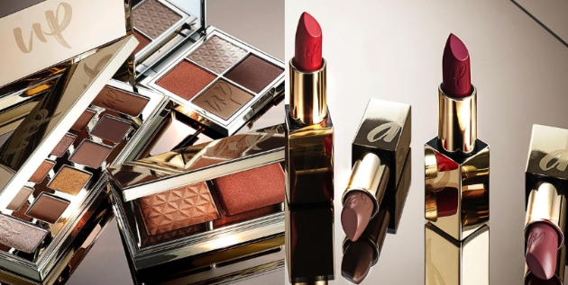 eyeshadow palettes and lipsticks from the new UP cosmetics range available at boots.com
