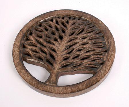 Mango Wood Trivet, Tree of Life