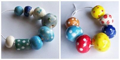 Ceramic beads and paper beads.