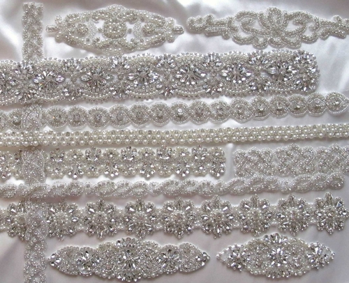 Rhinestone, crystal and pearl appliques and trims