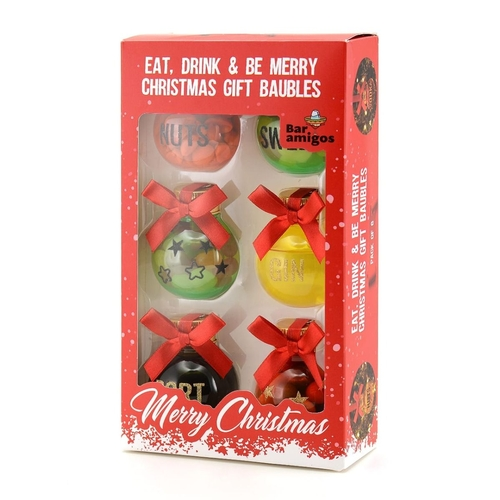 Bar Amigos Eat, Drink & Be Merry Christmas Gift Baubles (50ml) (Pack of 6)