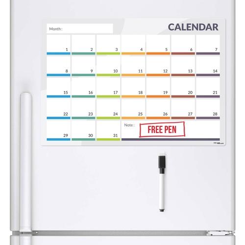 CKB LTD 31 Day / 1 Month Planner & Dry Wipe Pen (A3 Magnetic Fridge Board)