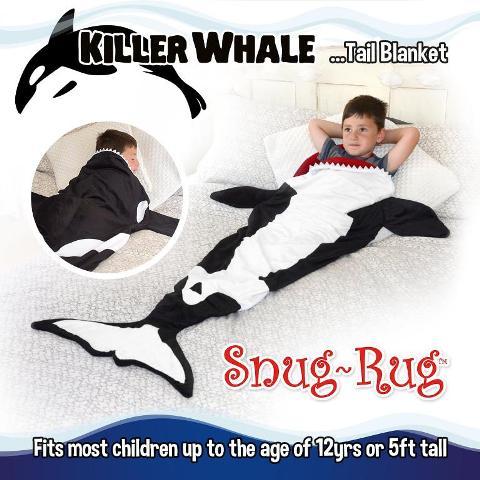 Snug-Rug Rainbow Mermaid & Killer Whale Tail Blanket