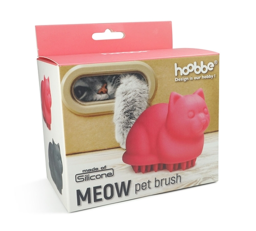 Cat Shaped Meow Pet Grooming Brush Pink or Grey